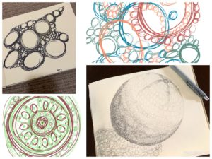 Collage of four drawings of different kinds of circles
